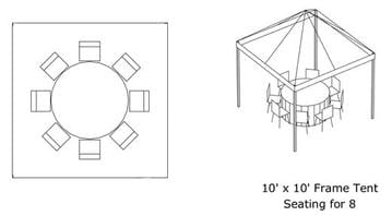 10' x 10' Tent (Fits 8) *Estimated Pricing*