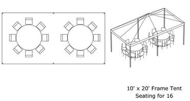 10' x 20' Tent (Fits 16) *Estimated Pricing*